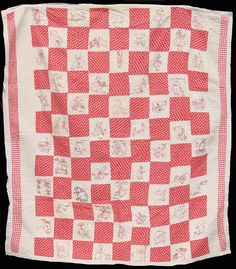 1920s Redwork Embroidery Quilt