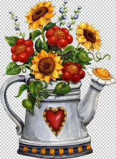 Sunflower Teapot Full drill diamond embroidery diamond cross stitch fashion diamond mosaic pictures of rhinestones Arte Country, Pintura Country, Country Style, Illustration Blume, Mosaic Flowers, Country Paintings, 5d Diamond Painting, Decoupage Paper, Vintage Diy