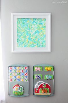 Kid's Playroom Makeover with lots of organizing tips and decor ideas!  magnet boards for the wall, love it!