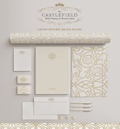 Castlefield Bridal Company & Branding Atelier - www.castlefield.co - Grand Reverie Brand Board - #branding #design #graphicdesign #wedding #bridal #logo #moodboard #invitations #feminine #invites #crest #brand #pretty #layout #logo #letterhead #cards #business #pattern #swirl #crest #cards #businesscards #logo #letterhead #blush #pink #gold #champagne