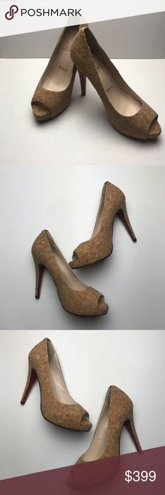 """Christian Louboutin Nude Cork Peep Toe Flo Heels Pre owned in good condition (as the pictures show). The only real sign of any wear on these gorgeous red bottoms is a little creasing on back of the right heel. These are size 38 which would normally correspond to a size 8, BUT Louboutins run small. These FIT MORE LIKE A 7.5▪️Measurements: Heel Height= 4.75""""▪️Open to reasonable offers 😃 ✨PRICE DROP Sun, 2/25✨✨ Please be mindful of this when making offers 😬. Christian Louboutin Shoes Heels"""