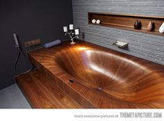 Amazing wooden bathtub…