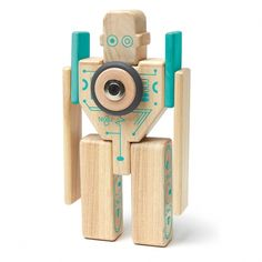 Ekobutiks® l ma boutique écologique | Jouets en bois magnétiques | Jouets Tegu® | Tegu® Jeu de Construction Magnétique Magbot 'le Robot'