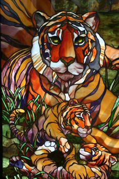 Stained glass window at Seneca Park Zoo in Rochester, NY.