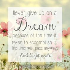 Such a great saying! Never give up on your dreams and never let anyone steal them from you. The only one who can stop you from being all that you want to be is you. Don't let that happen! http://www.thisworks.biz