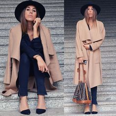 Alison Liaudat - Black Hat, Zara The Oversized Coat, Black Jeans, Louis Vuitton Vintage Bag - I've been here before