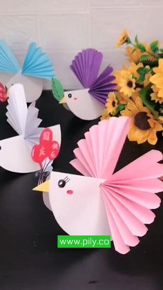Paper Crafts Origami, Diy Crafts For Gifts, Paper Crafts For Kids, Fun Crafts, Craft With Paper, Bird Paper Craft, Paper Flowers For Kids, Geek Crafts, Creative Crafts