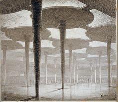 Johnson's Wax - FLLW - Hugh Ferriss' architectural sketches, 1915-1961