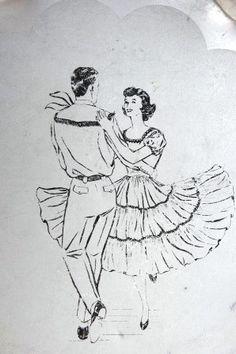 Square Dance 1950s Tray $25