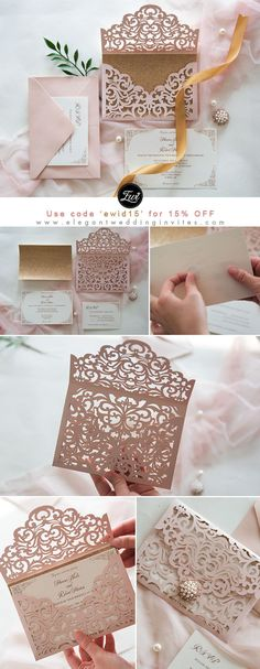Blush pink shimmer laser cut wedding invitation with DIY glitter gold backer EWWS240 #EWI