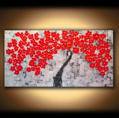 LARGE CANVAS ART Painting Wall Art Abstract Oil Landscape Tree Art Painting Wall Decor Sculpture Black Silver Red Cherry Blossom Tree Mural