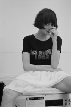 Taylor wears our All Night Long Tee and lace layer skirt both available online now loversanddrifters.com