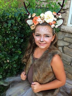 Girls DYI deer costume, headband, tutu, makeup