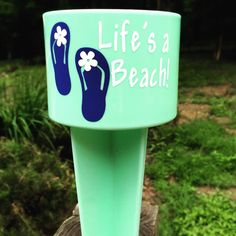 A personal favorite from my Etsy shop https://www.etsy.com/listing/235615135/lifes-a-beach-beach-spiker-cup-holder