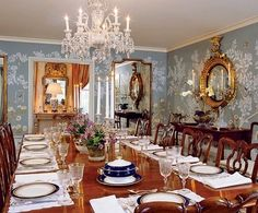 Chippendale chairs surround a circa 1815 table in the dining room. A Regency…