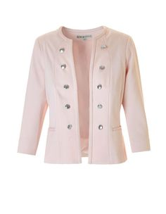 The chic blazer that every closet needs, this collarless military style is dressy and sophisticated. Pair it with a bold pencil skirt and white top for a cohesive l The Chic, Military Fashion, White Tops, Chef Jackets, Blazer, Coat, Skirts, Pink, Clothes