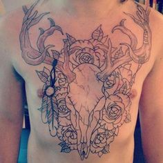 deer tattoo pictures | Deer skull Chest outline tattoo – Tattoo Picture at CheckoutMyInk ...