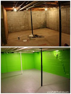 Polish The Stars: Basement Remodel Part Three: Painted Floors. That green is too much for me, but the floors look great. Basement Laundry, Basement House, Basement Apartment, Basement Plans, Basement Bedrooms, Basement Flooring, Basement Renovations, Home Renovation, Home Remodeling