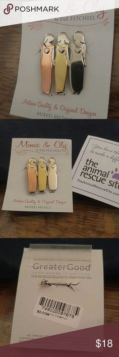 Mixed Metal Pin. Brand New. I am the middle sister of three. We love to wear our pins whenever we see each other. Great gift for sisters, friends or a mother and her 2 daughters. So nice. Mima & Oly Jewelry Brooches