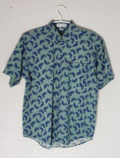 8a7d5ce35a6bc7 Columbia Sportswear Company Mens Fish Print Short Sleeve Button Up Shirt  Size L