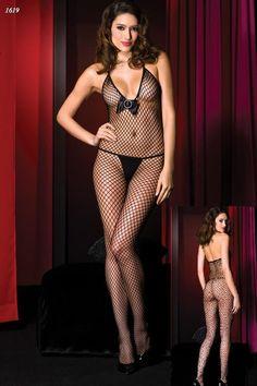 Missvera Önü Kurdelalı Boyundan Bağlı File Vücut Çorabı / Missvera Sexy Body Stocking