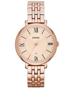 Fossil Watch, Women's Jacqueline Rose Gold-Tone Stainless Steel Bracelet 36mm ES3435 - Watches - Jewelry & Watches - Macy's