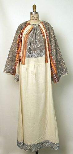 Dress Date: Culture: Romanian Medium: cotton, metal European Costumes, Vintage Outfits, Vintage Fashion, 1920s, Textiles, Costume Institute, Folk Costume, Couture, Historical Clothing