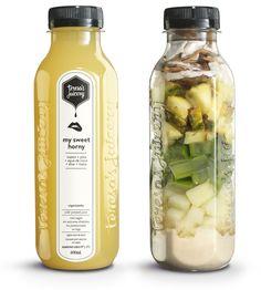 My sweet horny pineapple + maca + melon + aloe + coconut water - juices - # Healthy Juice Recipes, Healthy Juices, Healthy Drinks, Healthy Snacks, Juice Bar Interior, Bebidas Detox, Bubble Milk Tea, Juice Packaging, Aloe