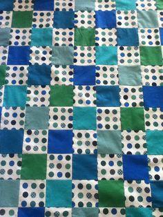 Blue, Green, and Polka Dot Crib Quilt