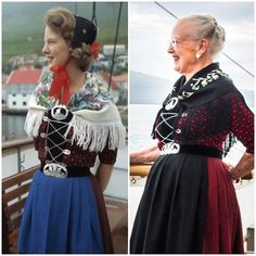Queen Margrethe wore traditional Faeroese dress (taken in 1963 and 2016) for the first two days of the visit last Monday and Tuesday.