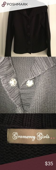 Gramercy Girl black sweater/ jacket Black Gramercy Girl sweater with large knit buttons that have snap closure. Marked L but I wear over clothes and it's fine. Always a compliment. Gramercy Girls Sweaters Cardigans