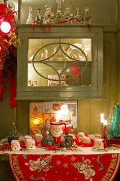 Vintage Santa lefton Santa mugs and green holly china