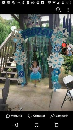 Frozen arbor with shimmer backdrop added. The wow factor in the birthday party! Tip- use LOTS of glitter! Handmade by Holly D. More from my sitePink and Gold Glitter Elsa Birthday Party, Frozen Birthday Theme, Frozen Themed Birthday Party, 3rd Birthday Parties, Birthday Party Decorations, 4th Birthday, Olaf Party, Birthday Ideas, Disney Frozen Party