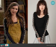 Riley's black top with floral embroidered sleeves on Girl Meets World.  Outfit Details: https://wornontv.net/55759/ #GirlMeetsWorld