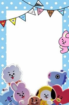 #freetoedit #happybirthday #invitation #bt21 #tata #koya #RJ #van #cooky #shooky #chimmy #mang #remixit Bts Happy Birthday, Happy Birthday Printable, Birthday Cards, Bts Book, Pop Stickers, Bts Birthdays, Instagram Frame, Bts Drawings, Bullet Journal Ideas Pages