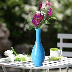 """Adeco Decorative Wood Vase Smooth Gloss Finish 15"""" Blue"""