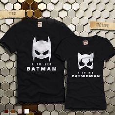 LOS QUIERO!! Her Batman and His Catwomen Mask Couples Tshirt