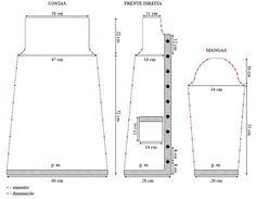 Material: - Cisne Savana (nov. de 100 g) 8 nov. na cor 00339 (mescla verde e rosa); - Ag. para tricô Corrente Milward nº 4,5; - Ag. para costura Tapestry Corrente Milward nº 18; - 9 botões.        Tensão do ponto: 10 x 10 cm = 17 p. X 24 carr. (medidos