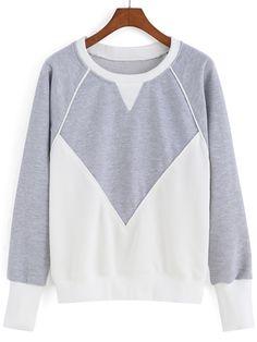 Romwe Color-block Round Neck Loose Sweatshirt