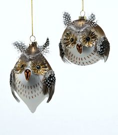 "Katherine's Collection Woodlanders Christmas Collection Set Twelve Assort Approx 6"""" Spotted Owl Glass Bauble Ornaments Free Ship"