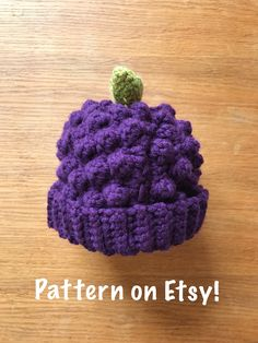 Cut Blackberry / Grapes Crochet Baby Toddler and Child Hat Pattern £3 by Crochet by Jaz
