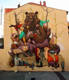 Antonio Segura Donat aka DULK with his work for Asalto Festival in Zaragoza, Spain - September, 2014 (LP) #ravenectar #streetart #art #graffiti