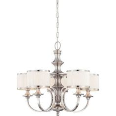 Nuvo Lighting Candice Brushed Nickel Five Light Chandelier W/Pleated White Shades On SALE