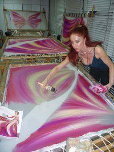 Blanka Matragi – her art studio | shawl | Silk painting