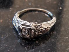Art Deco 18k White Gold Diamond and Filigree Engagement Ring from thevelvetbox on Ruby Lane