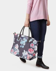 9fede517d Joules Kembry Women Printed Canvas Overnight Bag Printed Cotton, Leather Bag,  Canvas Prints,