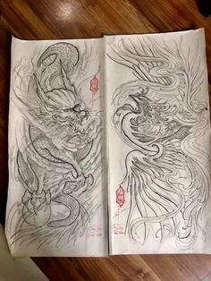 Phoenix Dragon, Japan Tattoo, Band Tattoo, Tattoo Sketches, Tattoo Life, Tatting, Body Art, Tattoo Designs, Japanese