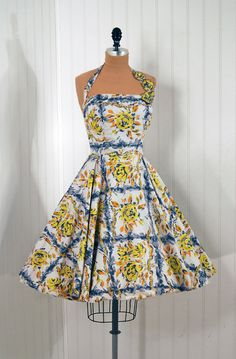 1950s dress via Timeless Vixen Vintage - blue and yellow roses