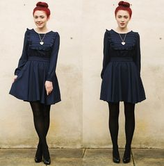 Pepa Loves Dress, Heart Locket, Heels | The weather's chilly & the dresses frilly. (by Megan McMinn) | LOOKBOOK.nu