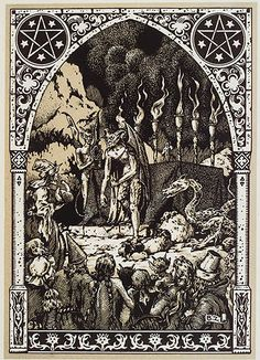 #Witches gathered with #demons at Sabbat - Bernard Zuber